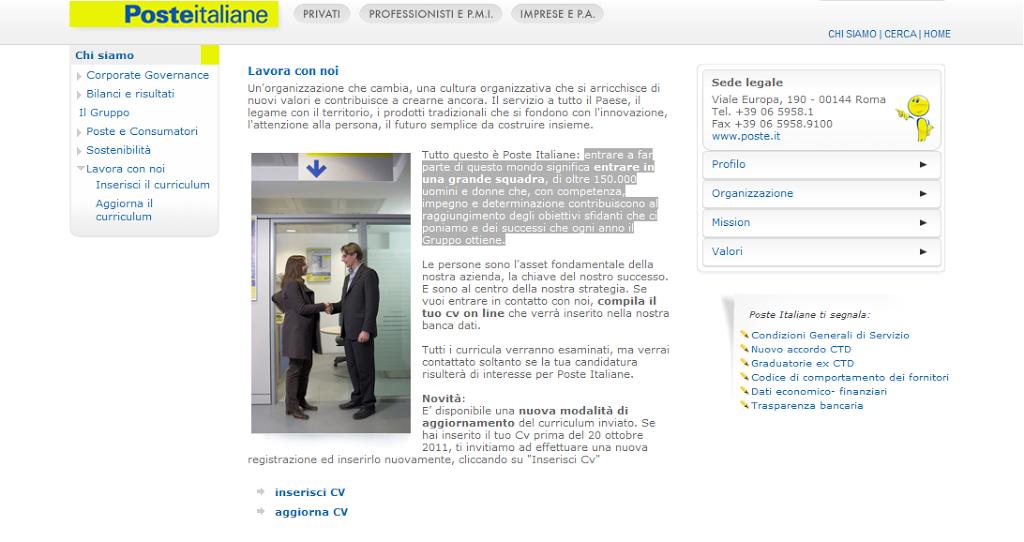 Lavora con noi Poste Italiane