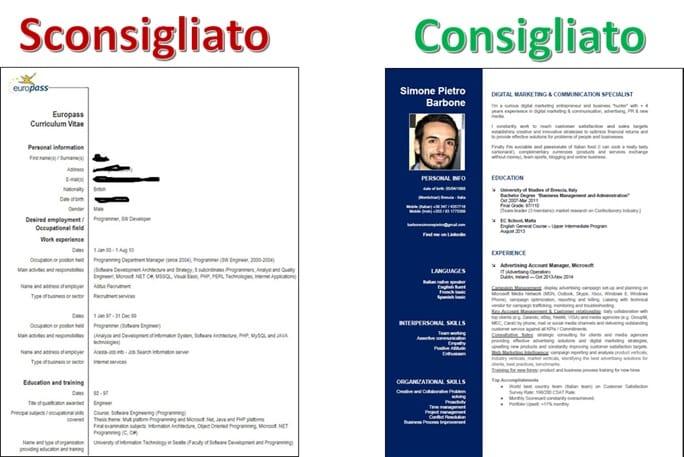 CV Consigliato e Sconsigliato Europass