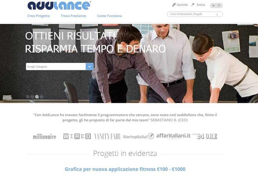Addlance Sito italiano per freelance in cerca di lavoro e clienti nuovi