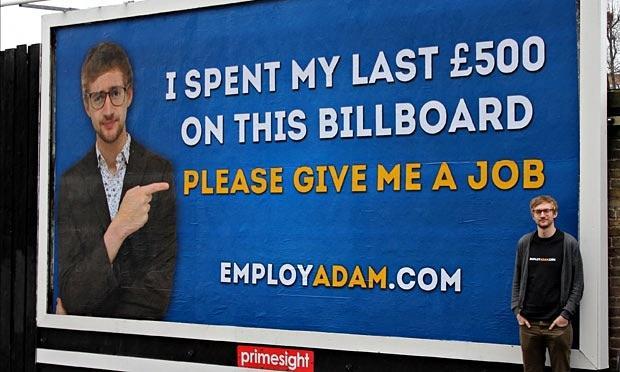 EmployAdam Adam Pacitti - BillBoard Cartellone Pubblicitario per Trovare Lavoro con 500 Dollari