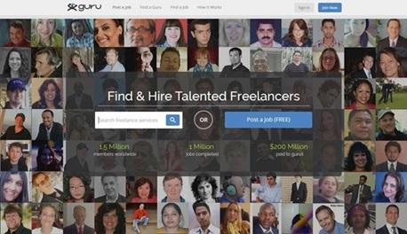 Guru piattaforma di intermediazione online per trovare freelance